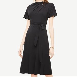 Black Ann Taylor drape neck dress